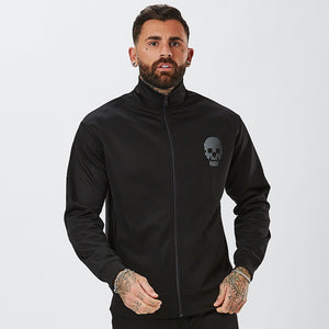 Model Wearing Poly Track Top In Black From Mens Full  Tracksuit