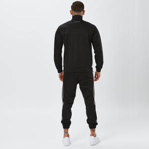 Behind View of Male Model in Black Mens Full Poly Tracksuit
