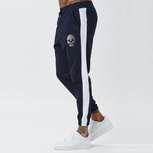 Model Wearing Navy Joggers From Mens Full Poly Tracksuit