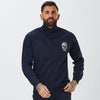 Male Model Wearing Navy Track Top with Skull Detail From Mens Full Poly Tracksuit