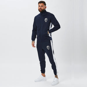 Male Model Wearing Mens Full Poly Tracksuit In Navy