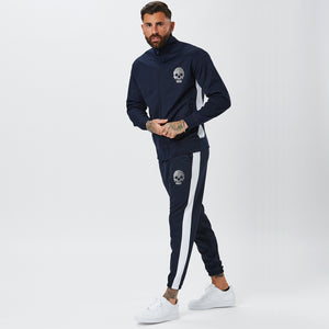Model Wearing Mens Full Tracksuit with White Stripe in Navy