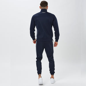 Behind View of Model in Mens Full Navy Tracksuit
