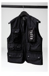 Mens Utility wear vest on a hanger in black