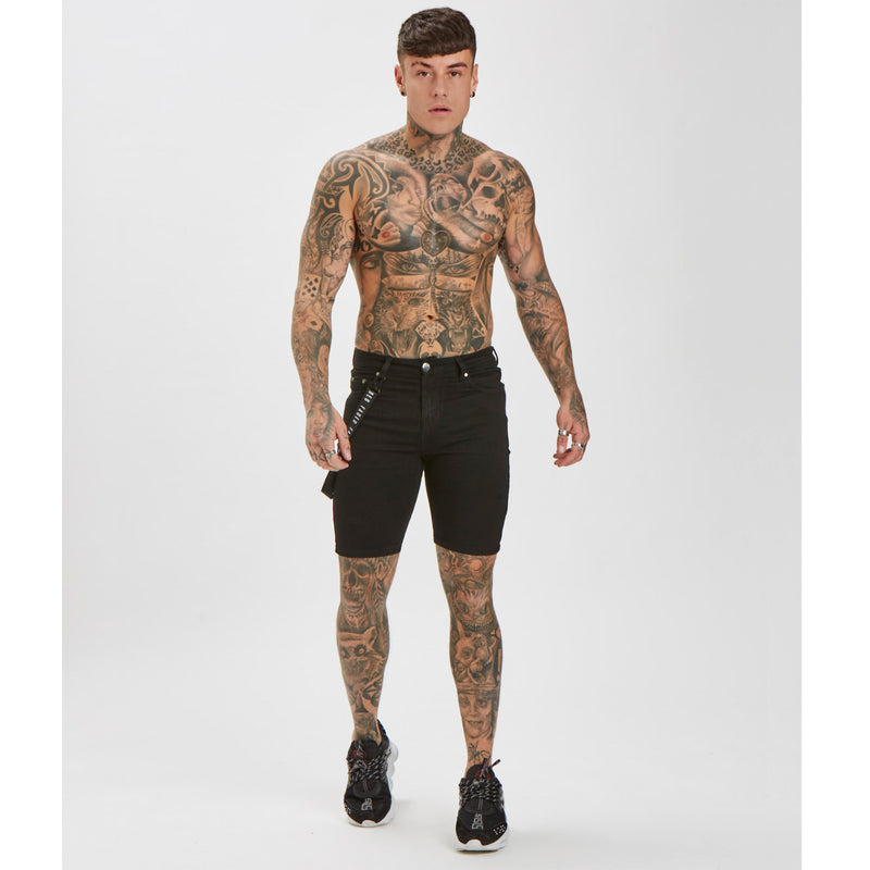 Spray On Non-Ripped Shorts | Black