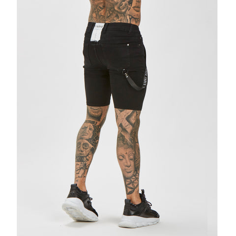 Black Spray On Non-Ripped Shorts