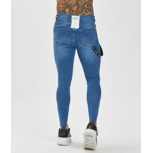 mens spray on jeans in light blue (ripped)
