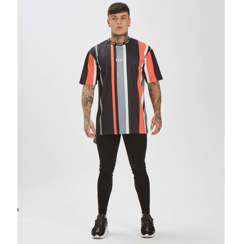Wide Stripe Tee - Black/Orange/Grey