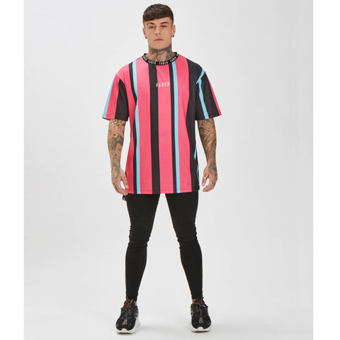 Wide Stripe Tee - Black/Blue/Pink