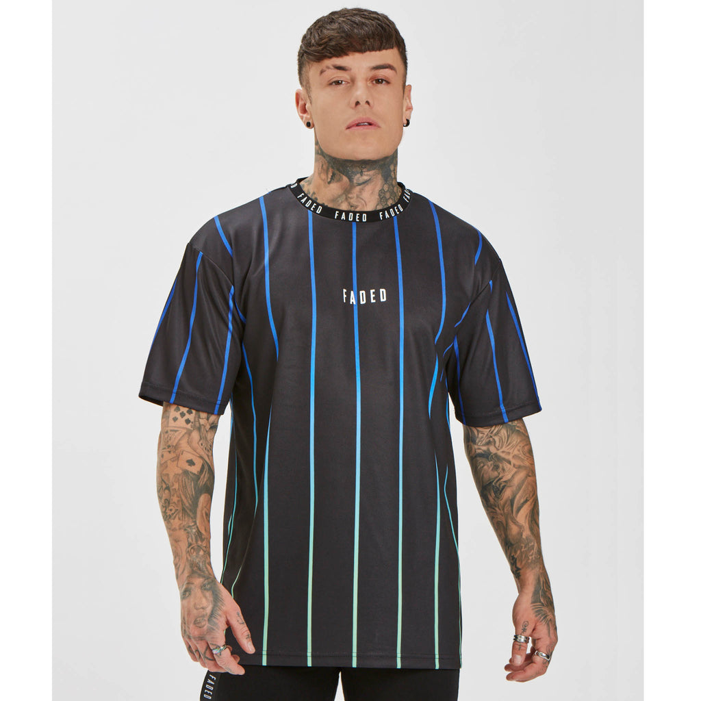 Fade Stripe Tee | Black Blue