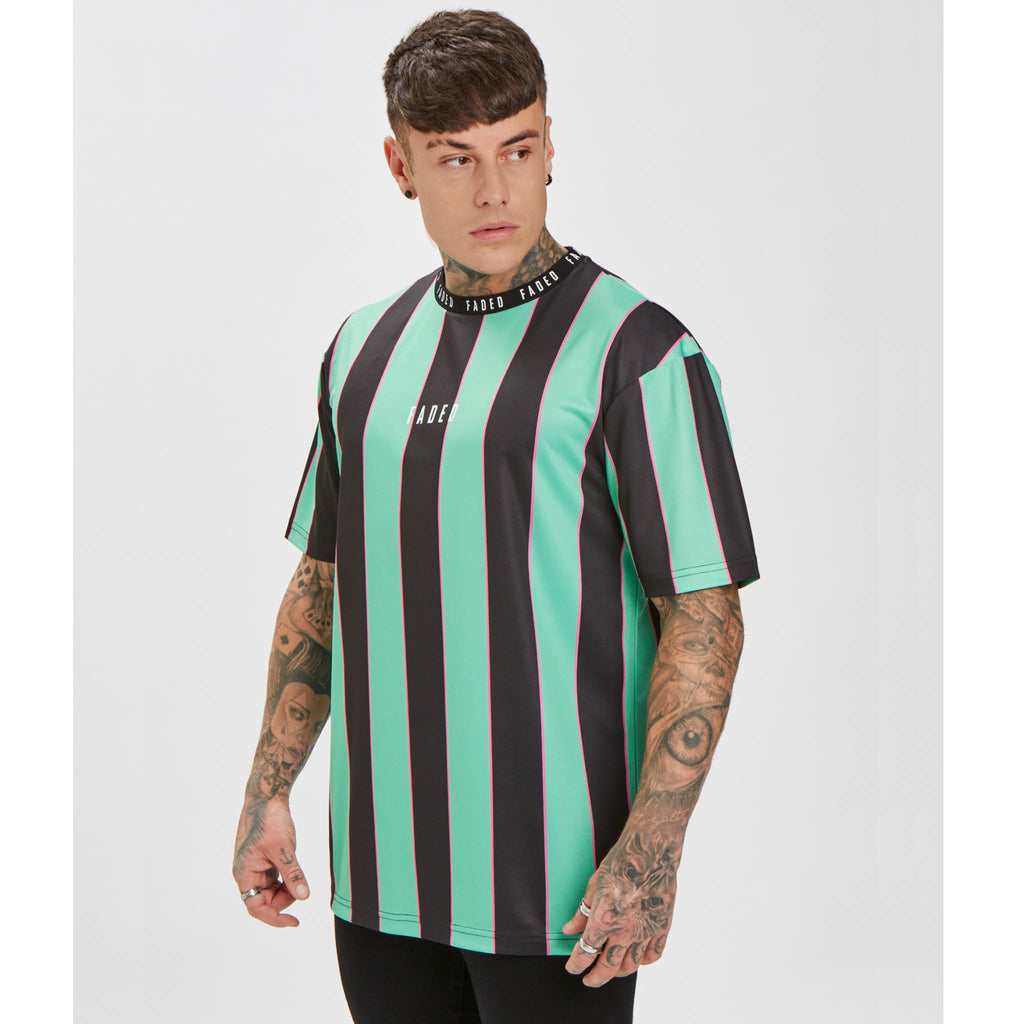 Big Stripe Tee | Black Green