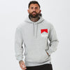 front profile of mens graphic nahbro hoodie in grey