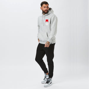 full body shot of the grey nahbro hoodie with black joggers