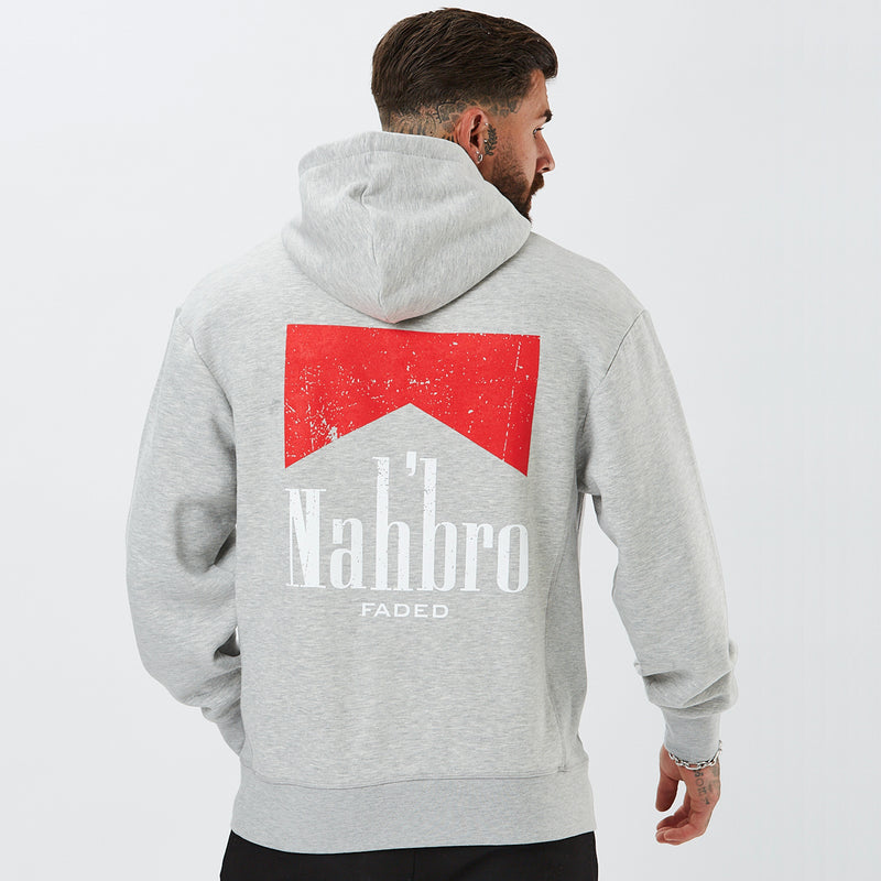 mens graphic hoodie with nahbro detail in grey