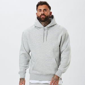 Model Wearing Mens Plain Hoody From The Basic Tracksuit in Grey