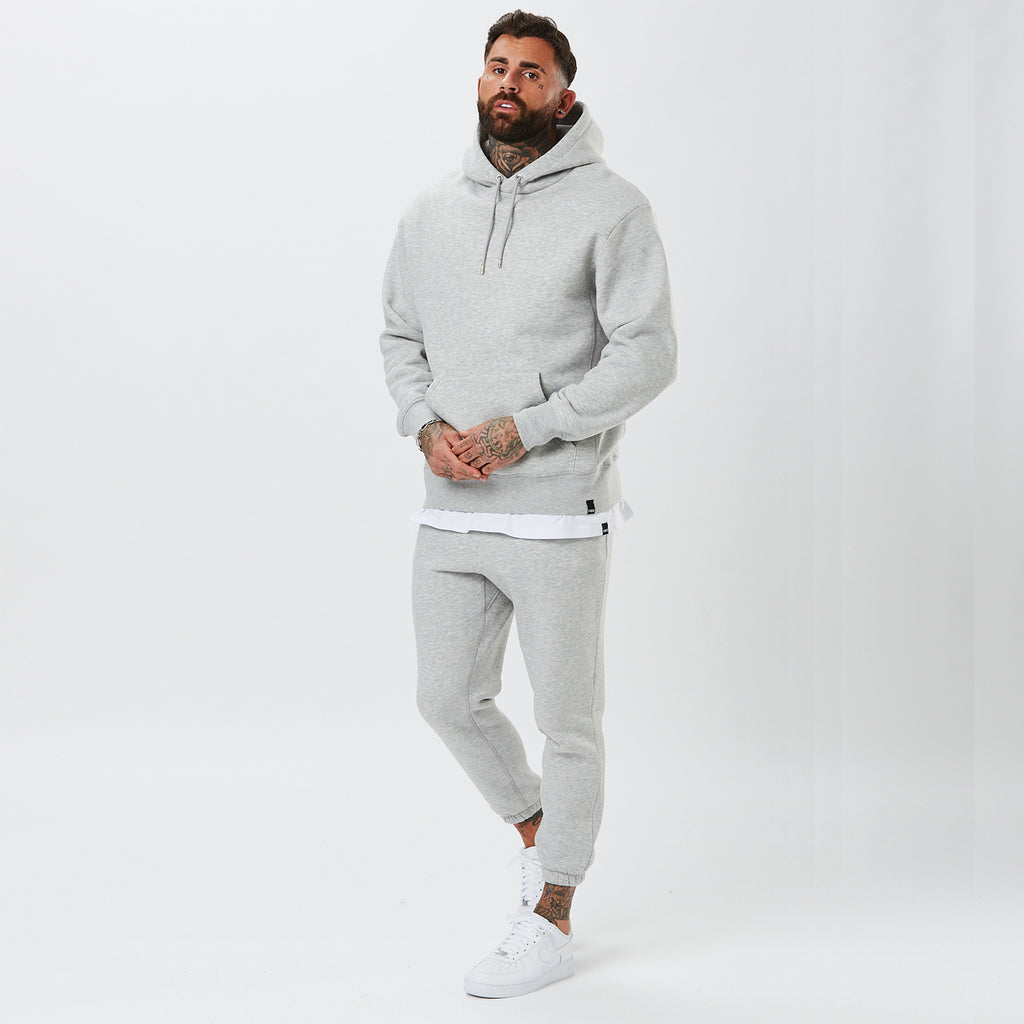Model Wearing Mens Plain Tracksuit in Grey