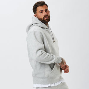 Model Wearing Grey Basic Hoody From The Mens Basic Tracksuit