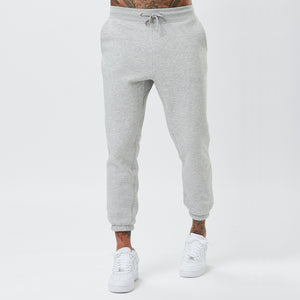 Model Wearing Mens Plain Joggers in Grey