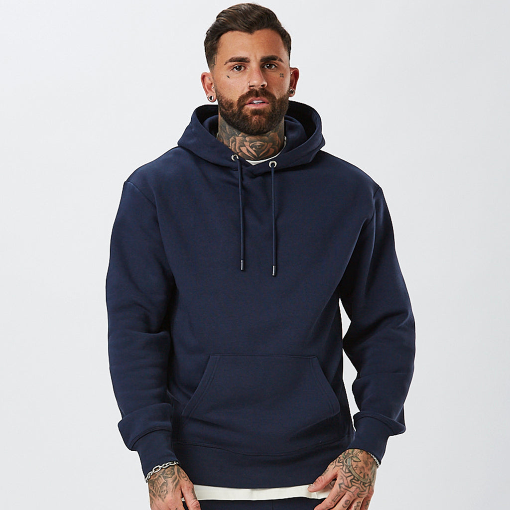 Model Wearing Mens Plain Hoody in Navy