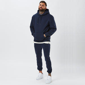 Model Wearing Mens Plain Tracksuit in Navy