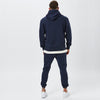 Back View of Male Model in Mens Plain Navy Tracksuit