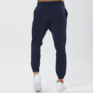 Behind View of Mens Plain Joggers in Navy
