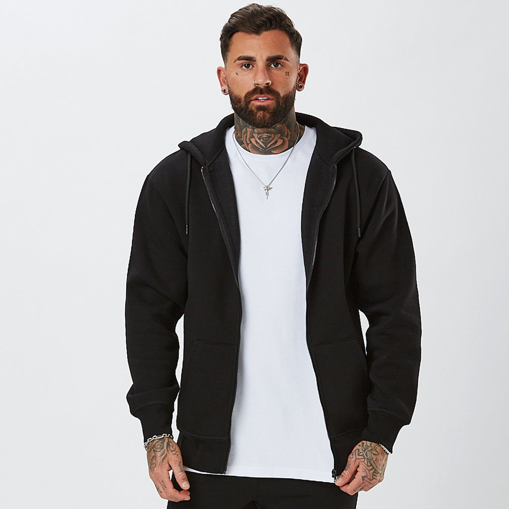 Male Model Wearing Full Zip Hoody From Mens Plain Tracksuit in Black