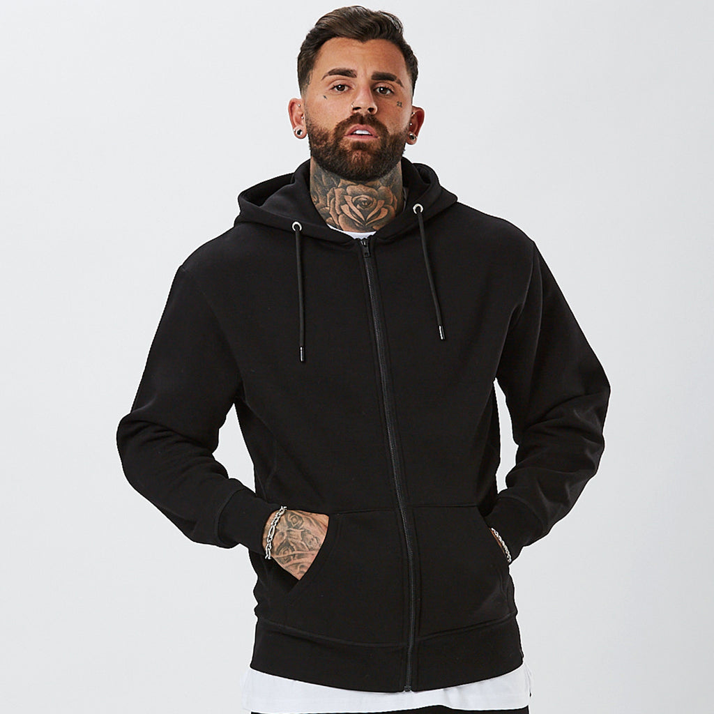 Model Wearing Plain Hoody From The Mens Plain Black Tracksuit