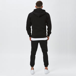 Back View of Male Model Wearing Mens Plain Black Tracksuit
