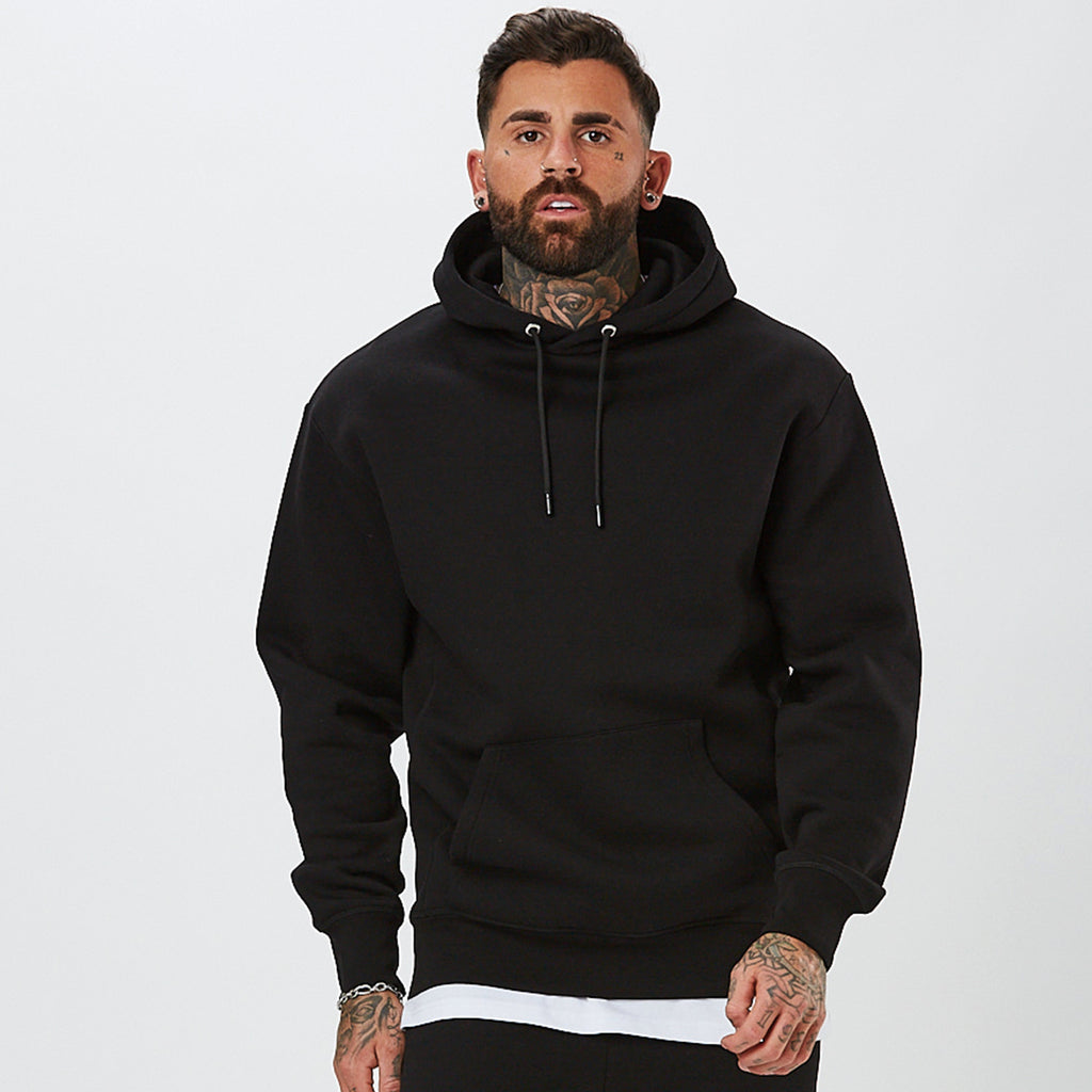 Model in Hoody From The Mens Plain Tracksuit in Black