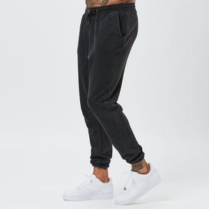 Male Model in Vintage Wash Joggers From Mens Plain Tracksuit