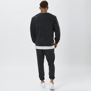 Back View of Male Model in Vintage Wash Tracksuit