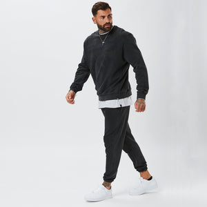 Model Wearing Mens Plain Vintage Wash Tracksuit