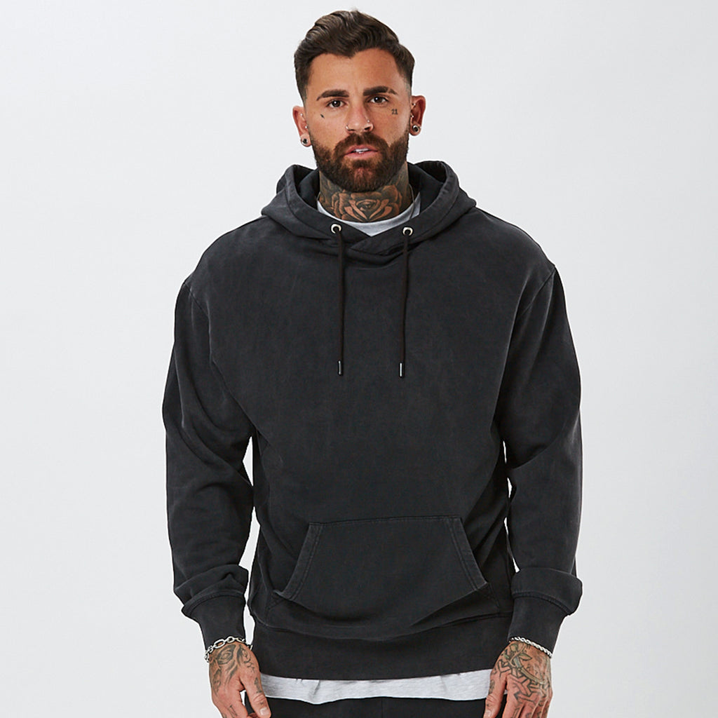 Male Model Wearing Vintage Wash Mens Plain Hoody