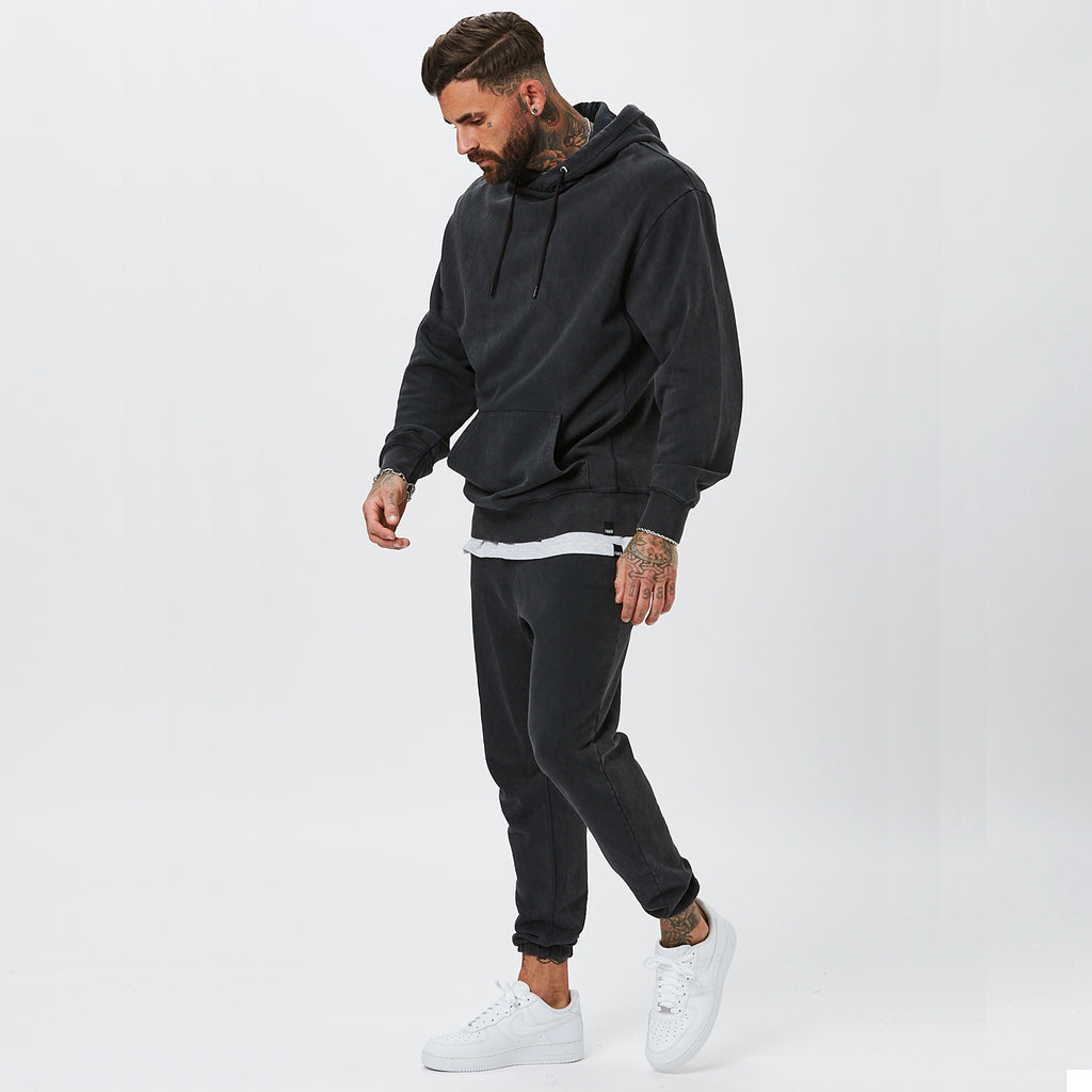 Mens Vintage Wash Plain Tracksuit Worn By Male Model