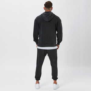Back View of Male Model in Vintage Wash Plain Tracksuit