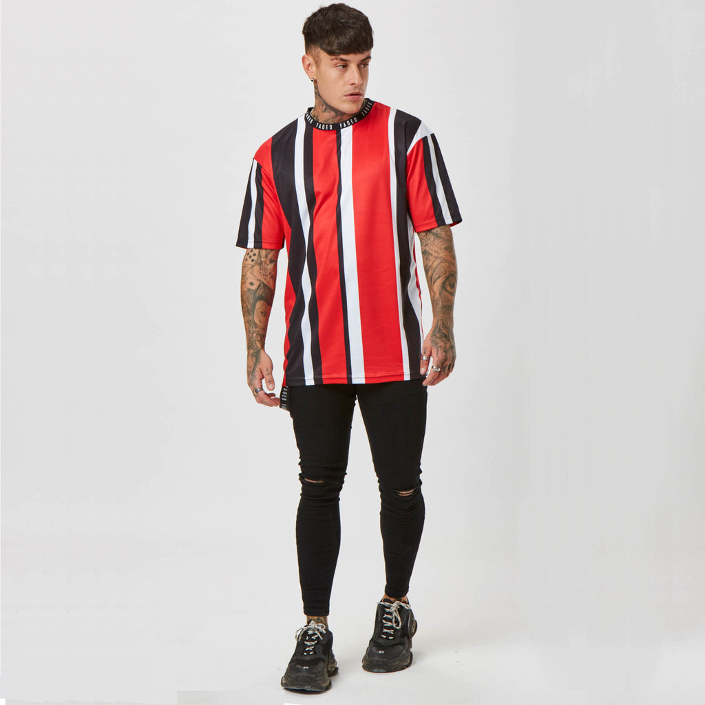 Wide Stripe Tee | Red Black