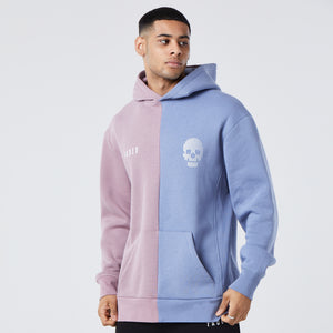 male model wearing splice mens graphic hoodie in mauve blue