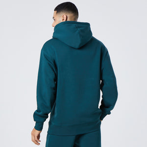 back profile of mens basic hoodie in green