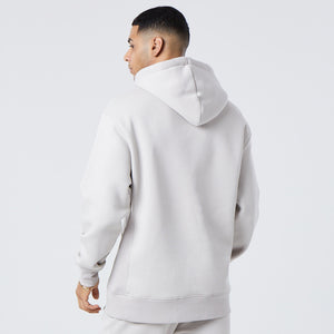 back profile of mens basic hoodie in light grey