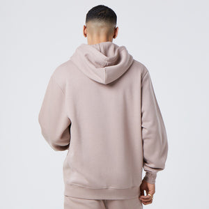 back profile of male model wearing brown mens graphic hoodie