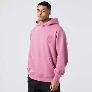 model wearing mens graphic hoodie in the colour cherry