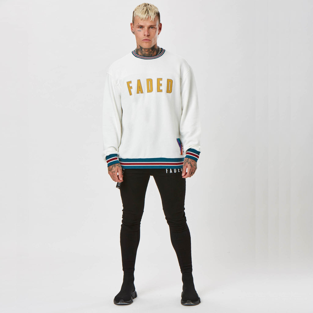 mens branded jumper with colour varsity detail by FADED