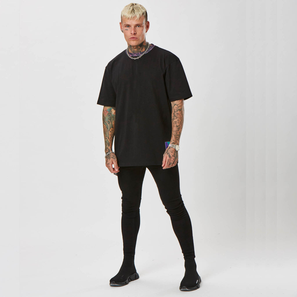 Plain Black Retro Streetwear T-shirt