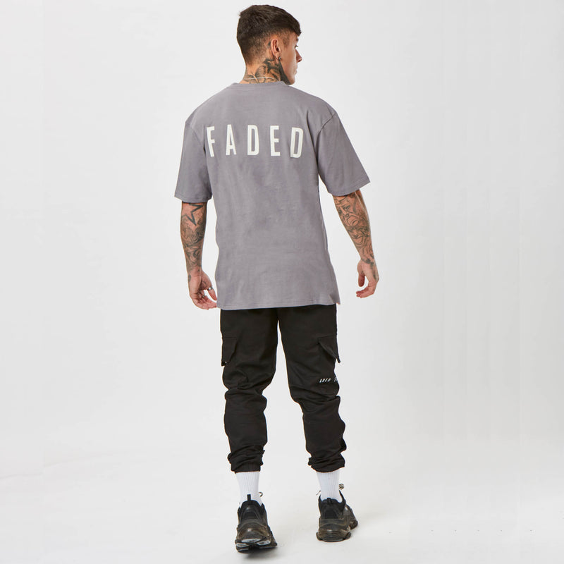 Faded back branded grey t-shirt