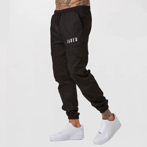 Mens utility trousers in black with FADED branding