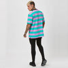 Back image of pink striped graphic t-shirt