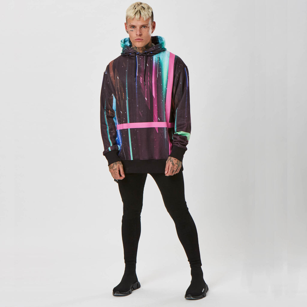 mens space graphic hoodie and black jeans