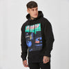 Chet Sket wearing mens graphic hoodie in black