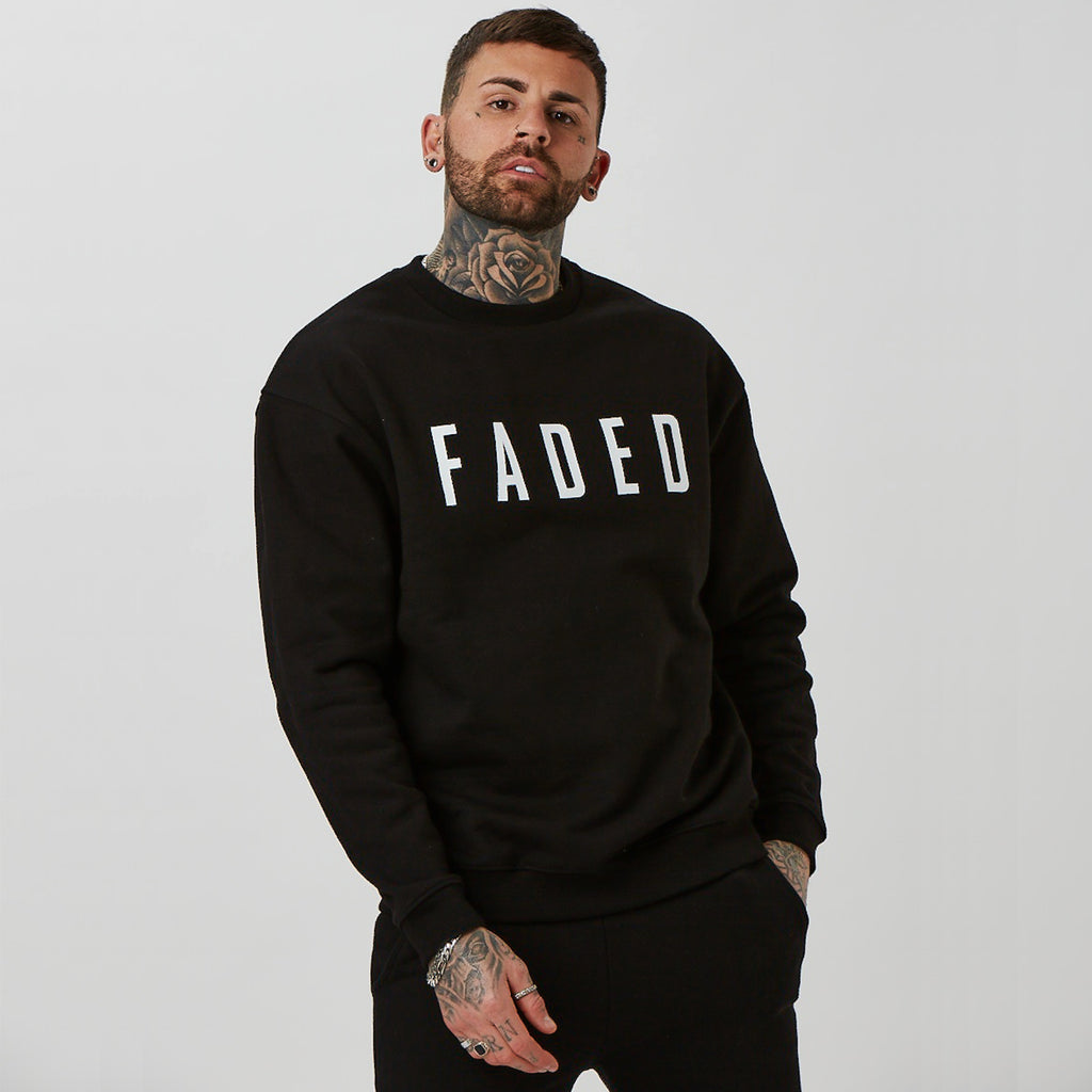 mens branded jumper in black (FADED)
